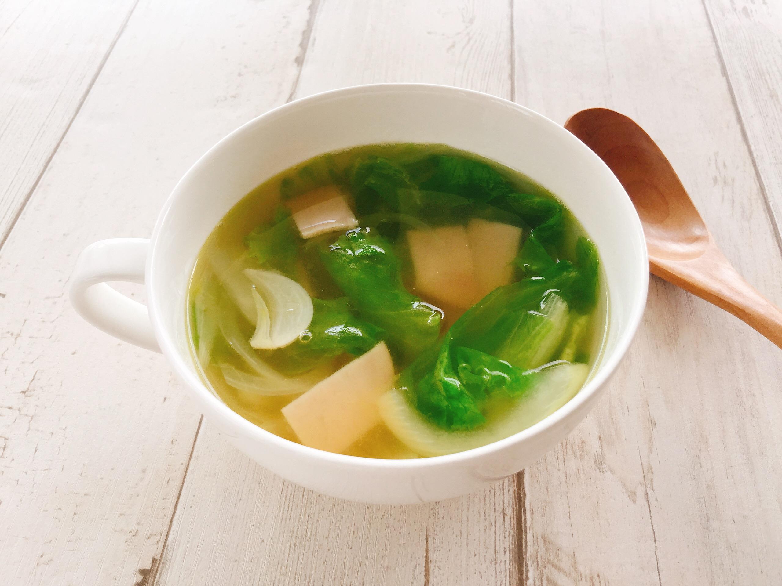 レタス入りにんにくスープ